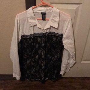 Torrid Lace Bustier Button Up Shirt